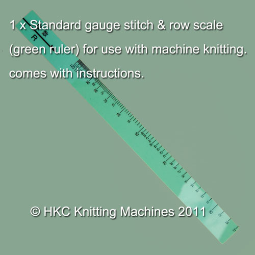 KNITTING MACHINES BROTHER FIT GREEN RULER STANDARD GAUGE STITCH/ROW CALC